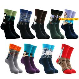 Mens Funny Crazy Crew Socks Novelty Cotton Colorful Patterne