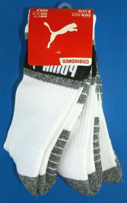 Puma Mens Half Terry Crew Socks 3 Pack Large White Black Gre