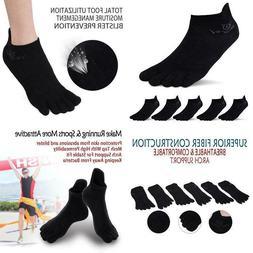 Mens No Show Toe Socks 6 Pairs Original Weight Low Cut Runni