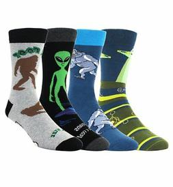 Zmart Mens Novelty Funny Crew Cotton Socks 4 Pack Crazy Cool