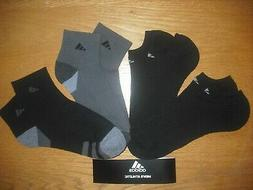 Mens NWT Adidas 2 Ankle & 2 No-Show Socks 4prs Black Gray Cu
