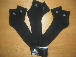 Mens NWT Adidas Quarter Ankle Socks BIG & TALL 3prs Black w/