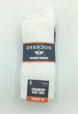 Dockers Men's Size 6-12 Sport Crew Dry Comfort White Socks