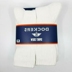 Dockers Mens Smart 360 Flex Sport White 6 Pack Crew Socks Sh