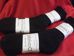 Davido Mens socks crew 100% cotton made in Italy  black 6 pa