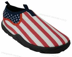 Mens Water Shoes Aqua Socks Flag Stars Pool Beach Surf Yoga