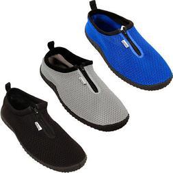 Mens Water Shoes Aqua Socks Zip Up Slip On Flexible Pool Bea