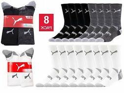 Puma Mid Calf Socks 8-pair Men's Crew Sock Black White Selec
