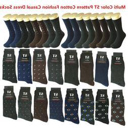New 12 pairs Men Multi Color ST Pattern Cotton Fashion Casua