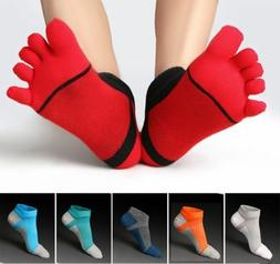 NEW! 6 Pairs Men Cotton Five Finger Toe Socks Sports Ankle L