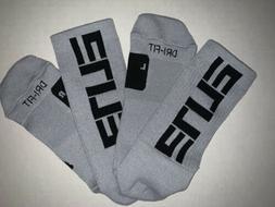 New Nike Elite Dri Fit Crew Socks Cool Grey Black Men's La