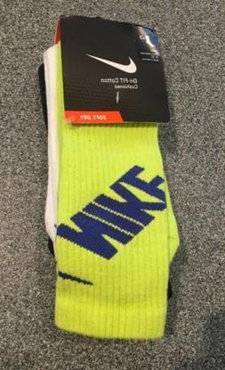 NEW Nike Men Dri Fit 3 pr. Crew Socks ~ Large ~ Green Black
