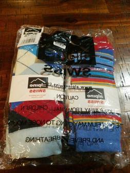 New Alpine Swiss Men's Bright Stripes 6 Pack Dress Socks - M