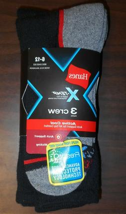 New Hanes Men's X-Temp Active Cool Crew Socks Black Arch Sup