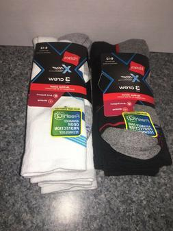 New Hanes Men's X-Temp Active Cool Crew Socks White/Black Ar