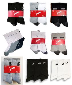 NEW Puma Mens Crew Socks 6-Pair Pack, Sports Athletic Socks