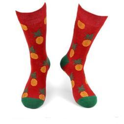 New Men's PINEAPPLES Novelty Crew Socks SIZE 10-13 Parquet