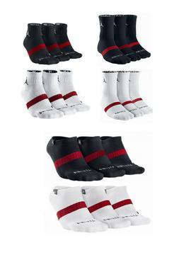 NIKE Mens Air jordan DRI-FIT CREW socks WHITE BLACK 3 pairs