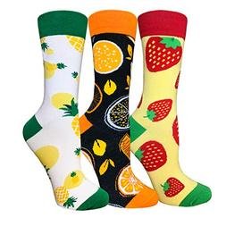 Novelty Funny Crew Socks Colorful Cute Animal Food Cool Patt