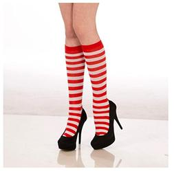 Forum Novelties Women's Novelty Red Striped Knee Socks, Whit