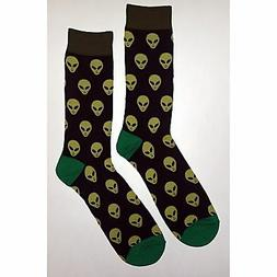 NWT Alien Dress Socks Novelty Men 8-12 Black Fun Sockfly