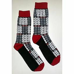 NWT Calculator Mania Dress Socks Novelty Men 8-12 Red and Wh