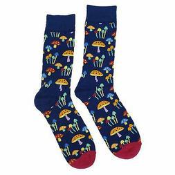 NWT Dark Mushroom Dress Socks Novelty Men 8-12 Black Fun Soc