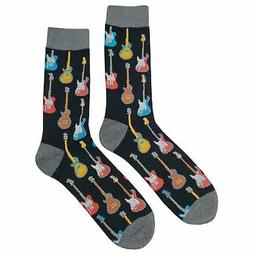 NWT Guitar Dress Socks Novelty Men 8-12 Black Fun Sockfly