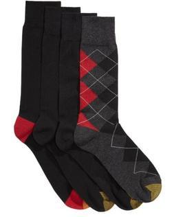 NWT Gold Toe Men's 4-pk Argyle/Solid Socks; Black; Size 10-1