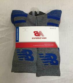 NWT New Balance Men's 6 pairs fitness basics crew socks Larg