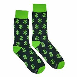 NWT Money Dress Socks Novelty Men 8-12 Black and Green Fun S