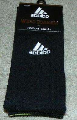 NWT New Adidas Traxion Menace Climalite Crew Black Socks Men