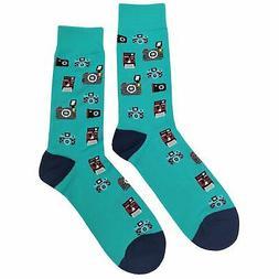 NWT Old Camera Dress Socks Novelty Men 8-12 Teal Fun Sockfly