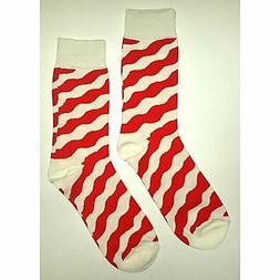 NWT Red Zebra Dress Socks Novelty Men 8-12 Red and White Fun