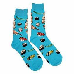 NWT Sushi Dress Socks Novelty Men 8-12 Blue Fun Sockfly