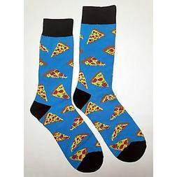 NWT Tasty Pizza Dress Socks Novelty Men 8-12 Blue Fun Sockfl