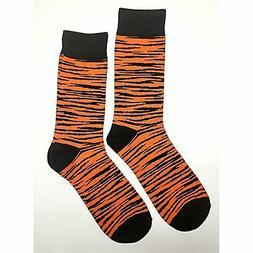 NWT Tiger Pattern Dress Socks Novelty Men 8-12 Black and Ora