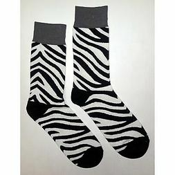 NWT Zebra Pattern Dress Socks Novelty Men 8-12 Black and Whi