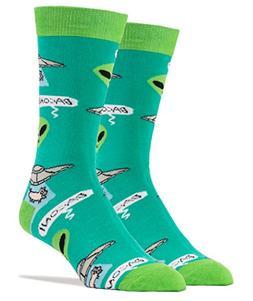Oooh Yeah Men's Luxury Combed Cotton Crew Socks Bacon Abduct