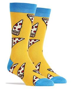 Oooh Yeah Socks  - Mens Crew - PIZZA PARTY Yel, Large