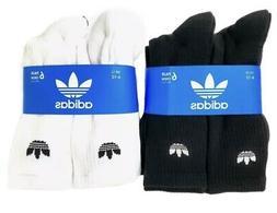 adidas Originals Men's Trefoil Crew 6 Pairs Socks Black and