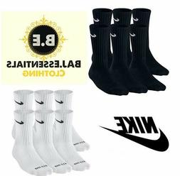 Nike Performance 6 Pair Crew Socks Cotton Cushioned Black or
