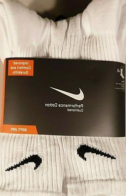 Nike Performance Cotton Cushion Men's WHITE Crew Socks 6 PAI