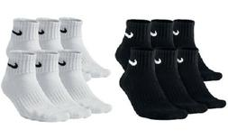 Nike Performance Cotton Cushioned Quarter Socks Mens Black W