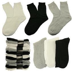 Plain Men Crew Thick Cushioned Sport Socks Cotton Mid Calf W