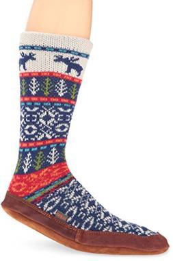 Women's Acorn Print Slipper Sock, Size Medium - Blue