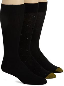 Gold Toe Men's Rayon Fashion 3 Pack Socks, Black,10-13
