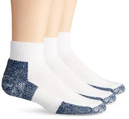 Thorlos Mens Running Thick /Low Cut Socks, 3 Pair,White/Navy