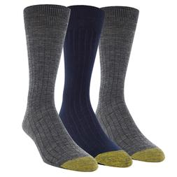 SALE! NEW! Gold Toe Men's 3 Pair Merino Wool Dress Crew Sock