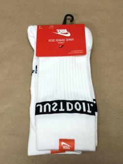 Nike SNKR Sneaker Sox JDI Crew Socks Just Do It 2 Pack White